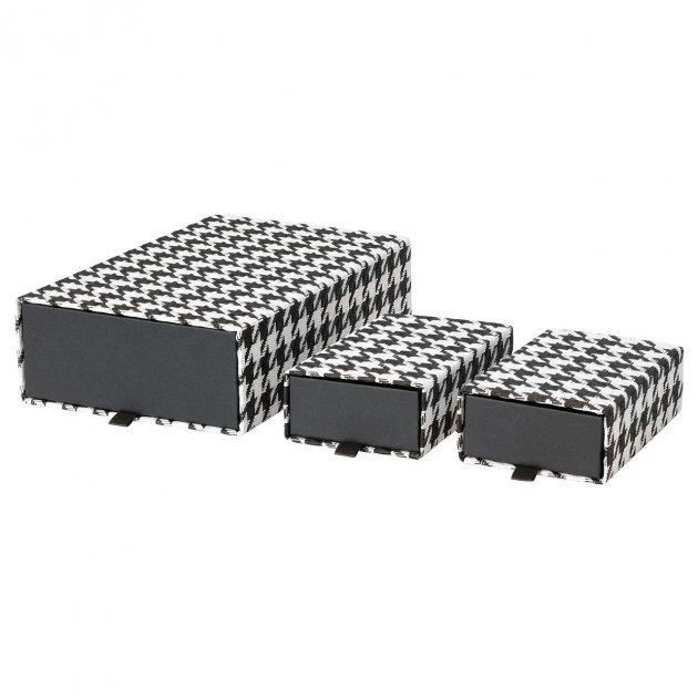 Набір коробок IKEA SAMMANHANG 3 шт чорні білі 104.138.54 - зображення 1