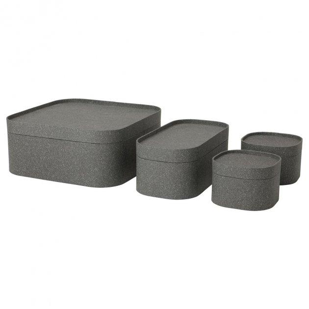 Набор коробок с крышкой IKEA SAMMANHANG 4 шт темно-серые 004.123.55 - изображение 1