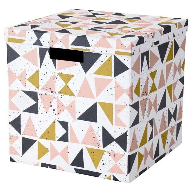 Коробка з кришкою IKEA TJENA 30x30x30 см біла чорна рожева 203.982.21 - зображення 1