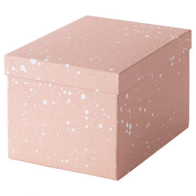 Коробка з кришкою IKEA TJENA 18x25x15 см рожева 004.038.17 - зображення 1