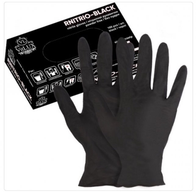 Перчатки медицинские нитриловые смотровые VitLux чёрные (уп 100шт 50пар) размер XL (10585) - изображение 1