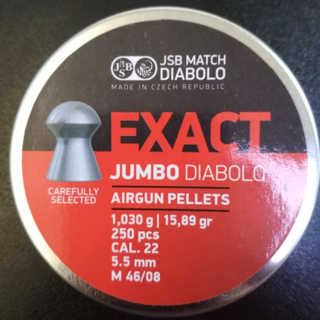 Пули пневм JSB Exact Jumbo, 5,5 мм , 1,03 г, 250 шт/уп - изображение 1