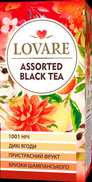 Чай черный Lovare Ассорти 4 вида по 6 шт пакетированный 24х2 г (4820097815686) - изображение 1
