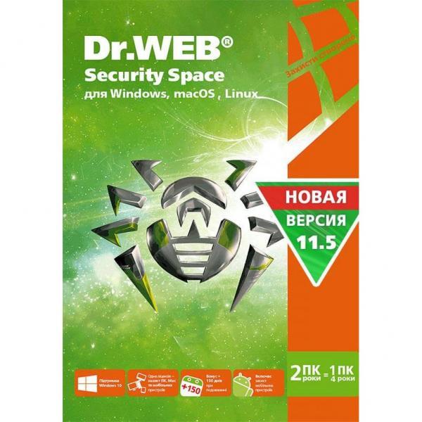 Антивірус Dr. Web Security Space, 2 ПК 2 роки карт. конверт (KHW-B-24M-2-A3) - зображення 1