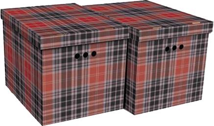 Набір картонних ящиків для зберігання Global-Pak XL 42x32x32 см 2 шт. Шотландка (1217.40glp) - зображення 1