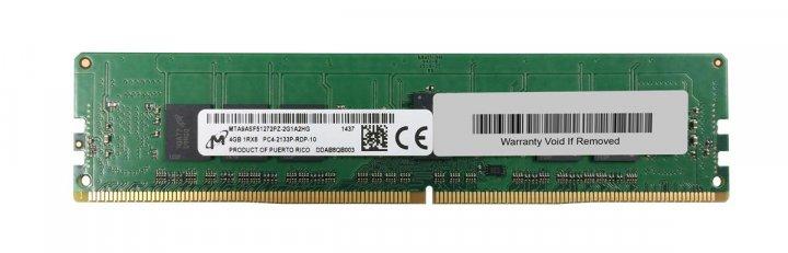 Оперативная память Micron MICRON 4GB (1X4GB) 1RX8 PC4-17000P-R DDR4-2133MHZ RDIMM (MTA9ASF51272PZ-2G1A2) Refurbished - изображение 1