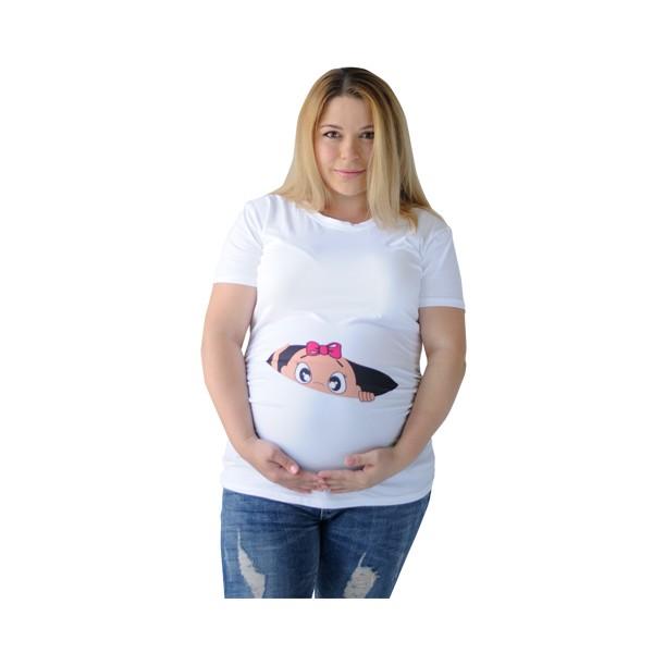 Зручна футболка для вагітних з малюнком Хепі Неня L (837) Біла - зображення 1