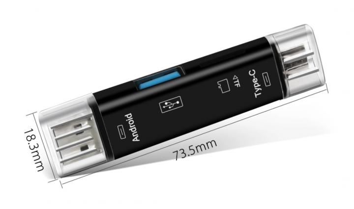 Перехідник з USB TypeC Micro SD на MicroSD TF card , чорний - зображення 1