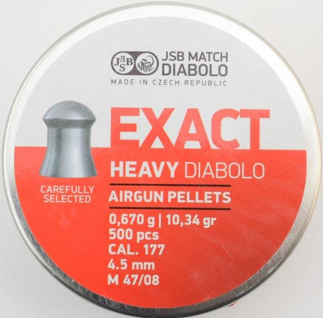 """Кулі для пневматичної зброї JSB """"Exact Heavy""""4.52 мм (500шт.) - зображення 1"""