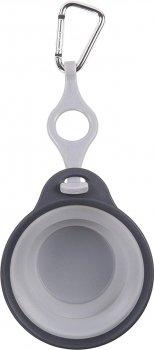 Дорожня складна миска з кріпленням на пляшку і карабіном для собак Dexas Travel Cup w / Bottle Holder & Carabiner 240 мл Світло-сіра (PW220432429) (0084297308971)