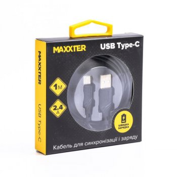 Кабель Maxxter USB type C - USB 1 м Black (UB-C-USB-02-1m)