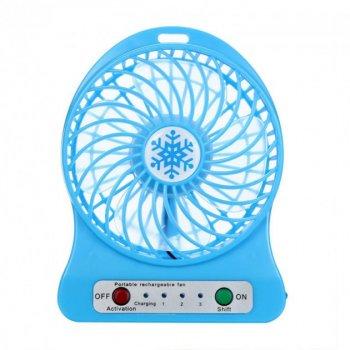 Переносной портативный вентилятор Ручной и Настольний Utm Синий #D/S