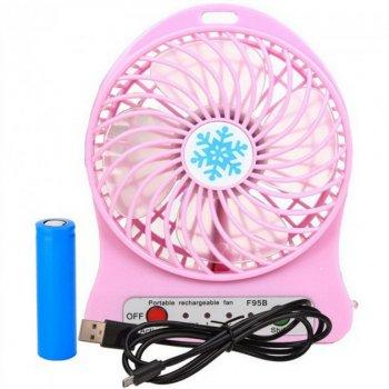 Переносной портативный вентилятор Ручной и Настольний Utm Розовый #D/S