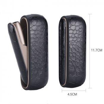 Набор чехол и боковая панель накладка для IQOS (Айкос) 3 и 3 DUO (Дуо) NEWstyle Кожа Крокодил Черный