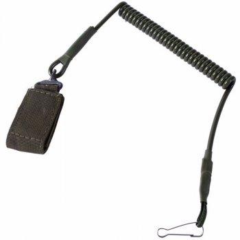Страховочный пистолетный шнур тренчик хаки с карабином и петлёй KNR CN0008
