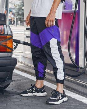 Теплые спортивные штаны Over Drive Split черно-белые с фиолетовым