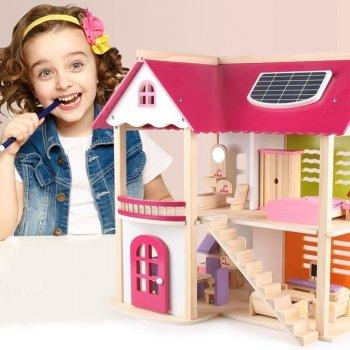 Двухэтажный деревянный детский домик с мебелью Fortune idea