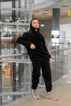 Костюм чоловічий спортивний Intruder Oversize (Худі толстовка на флісі + штани на флісі) чорний