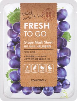 Тканевая маска Tony Moly Fresh To Go Grape Mask Sheet Pore Care с виноградом 20 г (8806194032788)