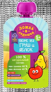Пюре Ложка в долоньці Pouch з груш і яблук, 90 г (253989)