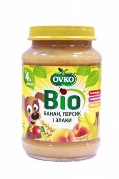 Пюре OVKO Персик, банан, злаки, 190 г (085693)
