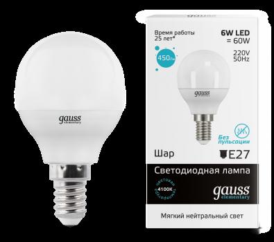 Лампа Гаусса LED Elementary Куля 6W E14 450lm 4100K 1/10/100