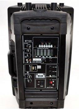 """Переносная акустическая система аккумуляторная колонка 12"""" 1 радио микрофон USB FM Skyrrocky BT12A"""