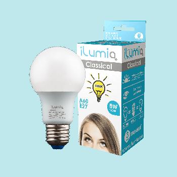 Світлодіодна лампа Ilumia 8Вт, цоколь Е27, 4000К (нейтральний білий), 800Лм (009)