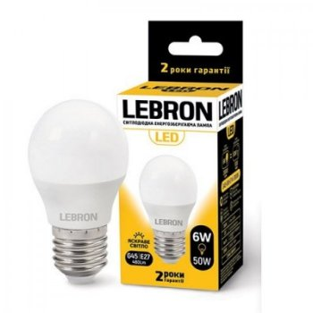 Светодиодная лампа LED 6W E27 220V G45 4100K LEBRON