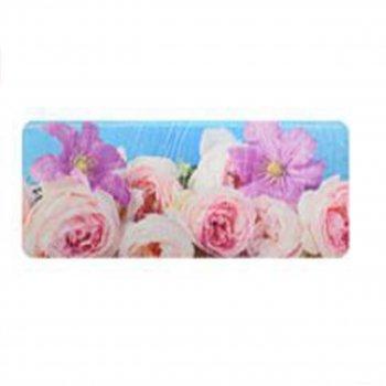 """Килимок у ванну STENSON """"Квіти"""" 45 х 120 см (R82474) Троянди на Блакитному"""