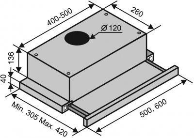 Вытяжка VENTOLUX GARDA 50 BR (450)