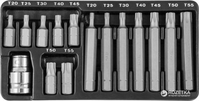 Комплект бит Jonnesway Torx 30 и 75 мм, Т20-Т55, 15 предметов (S29H4215S)
