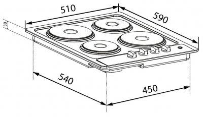 Варочная поверхность электрическая VENTOLUX HE 604 INOX 1