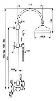 Душевой гарнитур EMMEVI DECO CERAMIC CR12161181 со стойкой