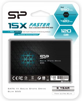 "Silicon Power Slim S55 120GB 2.5"" SATAIII TLC (SP120GBSS3S55S25)"