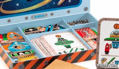 Деревянный набор игра-аппликация с молоточком Космодром Djeco (DJ06642)