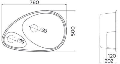 Кухонна мийка METALAC X GRANIT ELIPSE (113012) бежевий + сифон