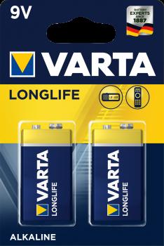 Батарейка Varta Longlife 6LR61 BLI 2 Alkaline (04122101412) (4008496638468)