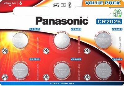Батарейки Panasonic литиевые CR2025 блистер, 6 шт (CR-2025EL/6B)