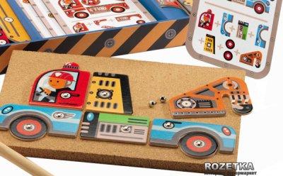 Деревянный игровой набор-аппликация с молоточком Djeco Транспорт (DJ06641)