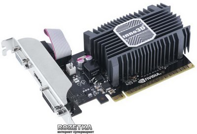 INNO3D PCI-Ex GeForce GT 730 LP 2048MB DDR3 (64bit) (902/1600) (DVI, VGA, HDMI) (N730-1SDV-E3BX)