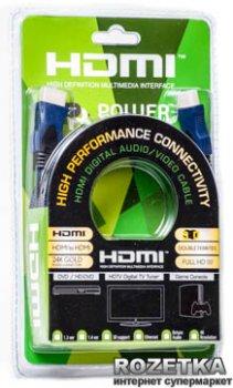 Кабель PowerPlant HDMI - HDMI 3 м, Gold Plated, v1.4, Nylon Double ferrites (KD00AS1202)