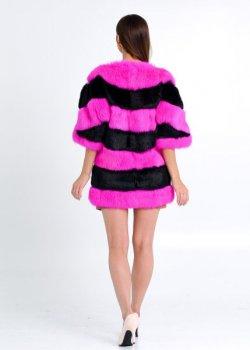 Полушубок бомбер BG-Furs из меха кролика Розовый