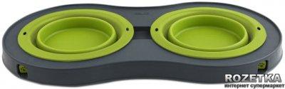 Мала подвійна миска на складаний підставці для собак Dexas Зелена (dx30686)