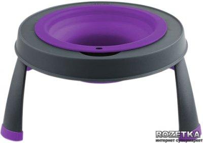 Мала одинарна миска на складаний підставці для собак Dexas Фіолетова (dx30691)