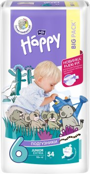 Підгузники дитячі Bella Baby Happy Junior Extra 16+ кг 54 шт (5900516601157)