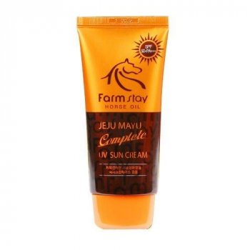 Солнцезащитный крем на основе лошадиного жира FarmStay Jeju Mayu Complete UV Sun Cream SPF 50+PA+++