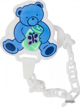 Ланцюжок для пустушки пластиковий Lindo Pk 016 на кліпсі Блакитна (8850215000164)