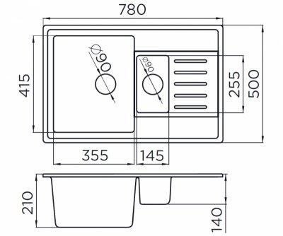 Мийка кухонна METALAC X GRANIT QUADRO PLUS 1.5 D (158552) білий + сифон