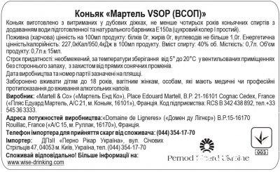 Коньяк Martell V.S.O.P. 0.7 л 40% в подарунковій упаковці (3219820005882)